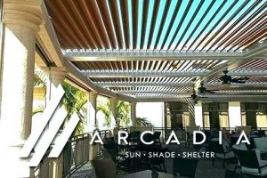 Arcadia logo, featuring an image of a slatted roof system