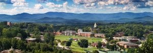 Panorama of University of North Georgia, with the beautiful mountains in the background.