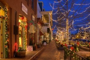 A photograph of dahlonega square at christmas time, at dusk, with all the fairy lights lit up in the trees.