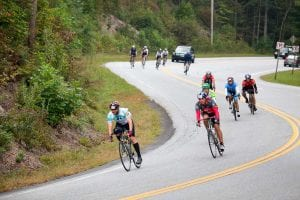 People cycling down the road for the sixgap event, held in Dahlonega annually.